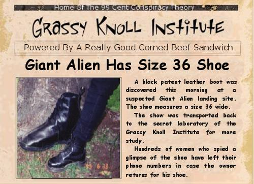 Giant aliens poised to take over the world leaves giant shoes behind.