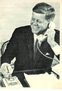 president kennedy at the whye house making a long distance call
