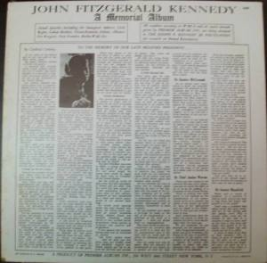 the back cover of the john kennedy record album.
