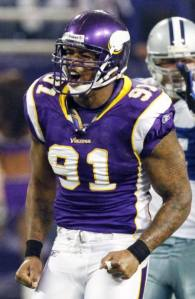 ray edwards had three sacks, a tackle for loss and a forced fumble against the cowboys in the playoffs.