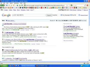 lost secrets google search results